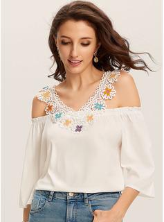 Geometrisch Lace 1/2 Ärmel Lace Polyester Schulterfrei T-shirt Blusen