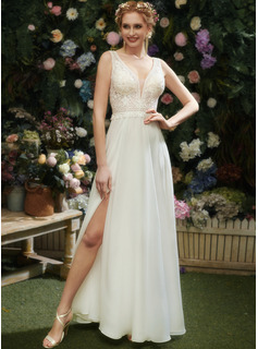 A-Line V-neck Floor-Length Wedding Dress With Lace Sequins Split Front