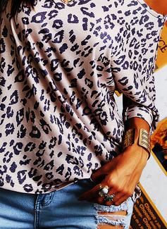 Leopard Rund hals Kortermer Avslappet T skjorte