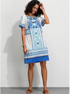Print Skiftekjoler Korte ærmer Midi Boho Casual Ferie T-shirt Mode kjoler