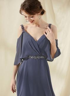 A-Line V-neck Knee-Length Chiffon Cocktail Dress With Ruffle Beading