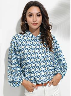 Wydrukować Rękaw 3/4 Poliester Litera V Koszula Bluzki Bluzki