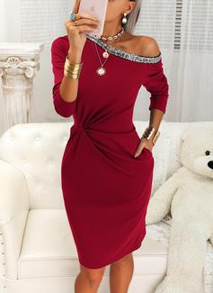 Sequins Solid Bodycon Long Sleeves Midi Little Black Elegant Pencil Dresses