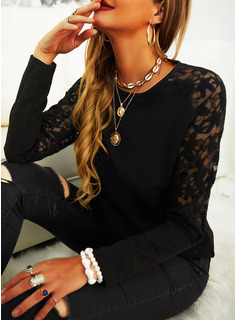 Lace Solid Round Neck Long Sleeves Elegant Blouses