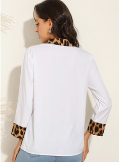 Patchwork Leopard Long Sleeves Polyester Lapel Shirt Blouses Blouses