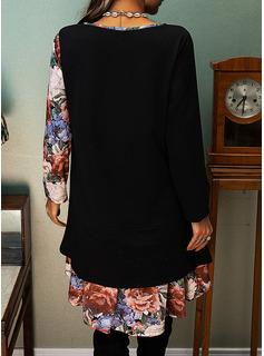 Fleurie Imprimé Coupe droite Manches Longues Midi Décontractée Tunique Robes tendance