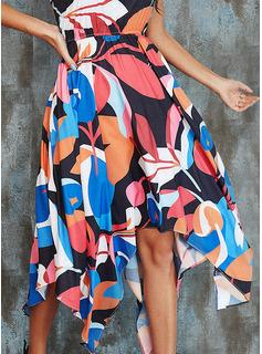 Geometrisk Kjole med A-linje Ærmeløs Midi Casual Ferie skater Mode kjoler