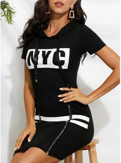 印刷 ボディコンドレス 半袖 ミニ カジュアル ファッションドレス