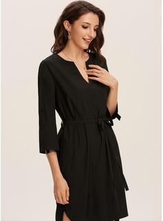 Over Knee V-hals Polyester Solid Lange ærmer Mode kjoler