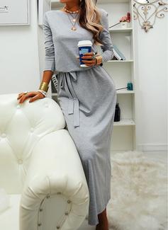 Einfarbig Etui Lange Ärmel Maxi Lässige Kleidung Modekleider