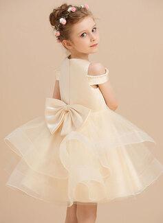 Robe Marquise/Princesse Longueur genou Robes à Fleurs pour Filles - Satiné/Tulle Sans manches Col rond avec Brodé/À ruban(s)