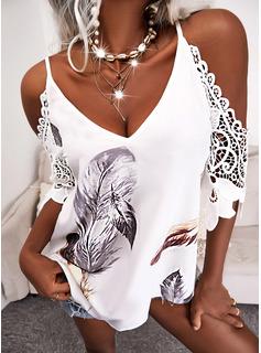 Print Cold Shoulder 1/2 Sleeves Elegant Blouses