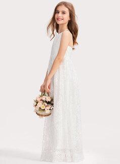 A-Line Halter Floor-Length Lace Junior Bridesmaid Dress With Bow(s)