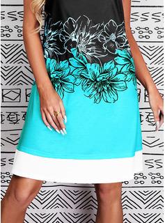 Color Block Floral Print Shift Sleeveless Midi Casual Tank Dresses