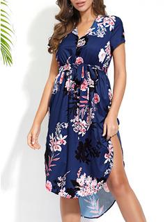 Kwiatowy Nadruk Pokrowiec Krótkie rękawy Asymetryczny Boho Nieformalny Wakacyjna Modne Suknie