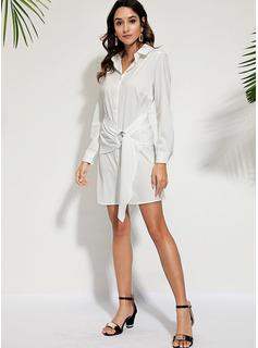 Solid Kjole med A-linje Lange ærmer Mini Casual Skjorte Mode kjoler