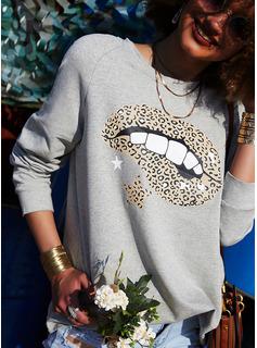 Stampa leopardo Girocollo Maniche lunghe Felpe