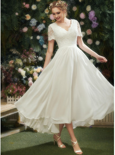 A-Line V-neck Asymmetrical Wedding Dress With Lace