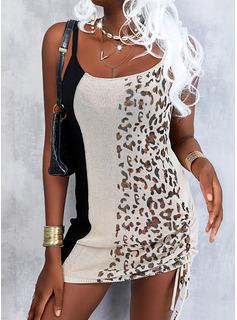 Leopard Color Block Bodycon Sleeveless Mini Casual Type Dresses
