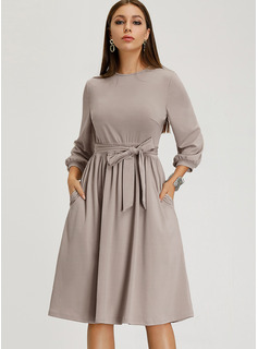 Knee Length Round Neck Polyester Long Sleeves Solid Fashion Dresses