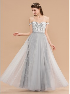A-Line Off-the-Shoulder Floor-Length Tulle Lace Bridesmaid Dress