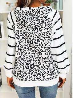 Striped Leopard Long Sleeves Hoodie