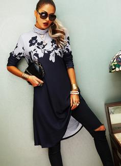 Blommig Print Shiftklänningar Långa ärmar Midi Fritids Modeklänningar