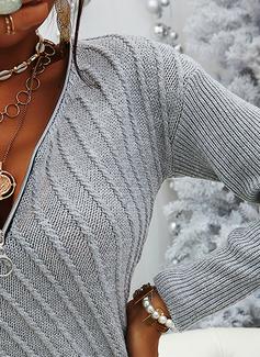 V-ringning Fritids Lång Solid Tröjor