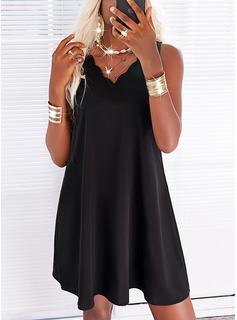 Sólido Vestidos sueltos Sin mangas Mini Pequeños Negros Casual Vacaciones Franelilla Vestidos de moda