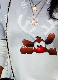 Animalske Udskriv Tie Dye Rund hals Lange ærmer Jule sweatshirt