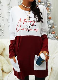 Color Block Print Figur Rund hals Lange ærmer Jule sweatshirt