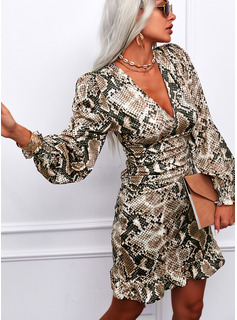 Imprimé Fourreau Manches Longues Manches Bouffantes Mini Élégante Robes tendance