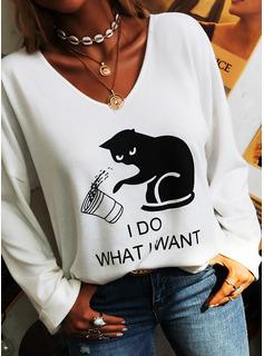 Animalske Udskriv V-hals Lange ærmer Casual T-shirt