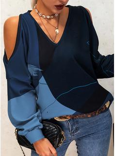 Color Block Print Kolde skulder Lange ærmer Casual Skjorter