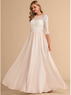 A-Line Illusion Floor-Length Chiffon Lace Wedding Dress With Beading Sequins