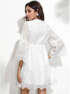 Blonder Solid Skiftekjoler 3/4 ærmer Mini Casual Elegant Tunika Mode kjoler