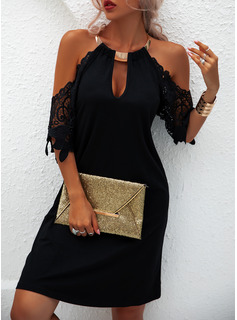 Lace Solid Shift 1/2 Sleeves Cold Shoulder Sleeve Mini Little Black Casual Vacation Tunic Dresses