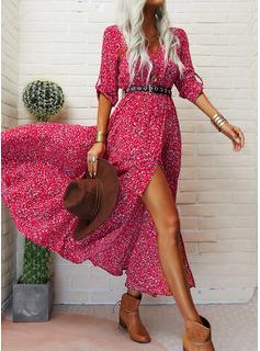 Print Kjole med A-linje 1/2 ærmer Maxi Casual Ferie skater Mode kjoler