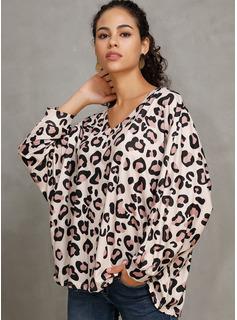 Leopard 3/4 Ärmel Polyester V-Ausschnitt T-shirt Blusen