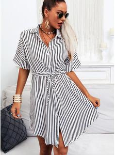 Stribe Skede Korte ærmer Midi Casual Skjorte Mode kjoler