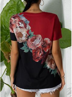 Blommig Print V-ringning Korta ärmar Fritids Skjorta Blusar