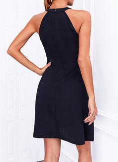 Solid A-line Sleeveless Mini Little Black Elegant Skater Dresses