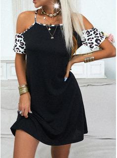 Leopardo Vestidos sueltos Manga Corta Mini Casual Vestidos de moda