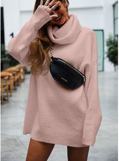 Rollkragen Lässige Kleidung Einfarbig Pullover