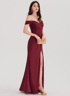 Sheath/Column Off-the-Shoulder Floor-Length Satin Evening Dress With Ruffle Split Front