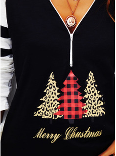 Leopard Figure Color Block Print V-Neck Long Sleeves Casual Christmas Blouses
