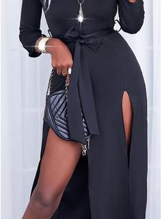Sólido Vestido línea A Mangas 3/4 Maxi Pequeños Negros Elegante Patinador Vestidos de moda