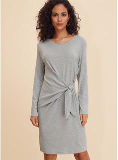 Solid Åtsittande Långa ärmar Mini Fritids Modeklänningar