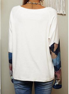 Bosque Impresión Cuello Redondo Manga Larga Casual camiseta