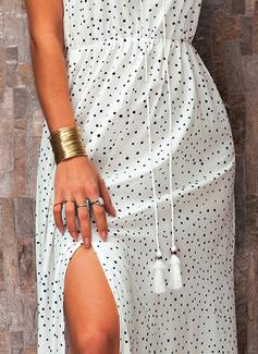 PolkaDot A-line Sleeveless Maxi Casual Vacation Skater Dresses